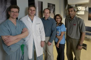 From left to right: Dr. Alastair Younger, Dr. Murray Penner, Dr. Kevin Wing, Ayesha Sit, and Biraj Bora